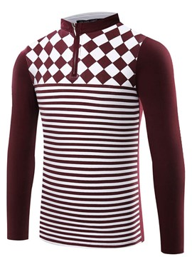 Ericdress Stripe Stand Collar Half Zip Slim Men's T-Shirt
