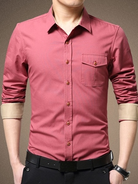 Ericdress Cotton Blends Solid Color Casual Men's Shirt
