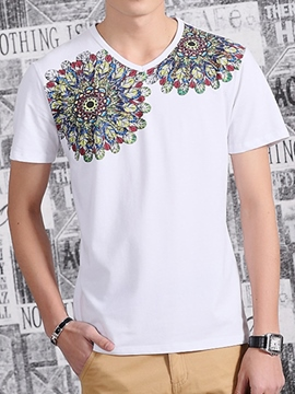 Ericdress Short Sleeve Feather Print Casual Men's T-Shirt