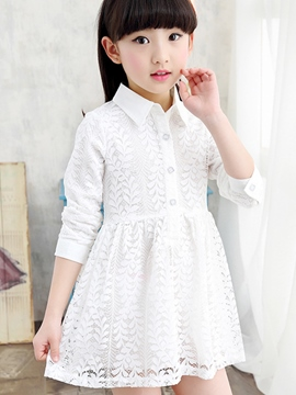 Ericdress Plain Lace Lapel Girls Dress