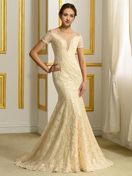 Ericdress Beautiful Lace Mermaid Color Wedding Dress
