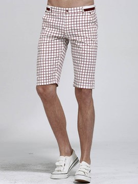 Ericdress Half Leg Straight Plaid Men's Shorts
