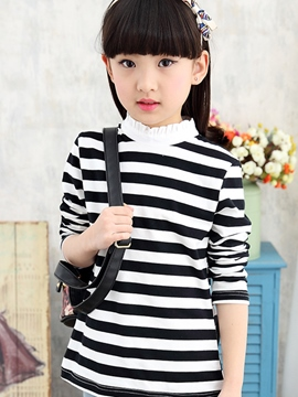 Ericdress Stripe Stand Collar Girls T-Shirt