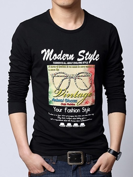 Ericdress Letter Casual Print Long Sleeve Men's T-Shirt