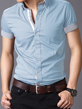 Ericdress Patched Soft Fabric Slim Men's Shirt