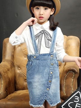 Ericdress Denim Split Girls Dress