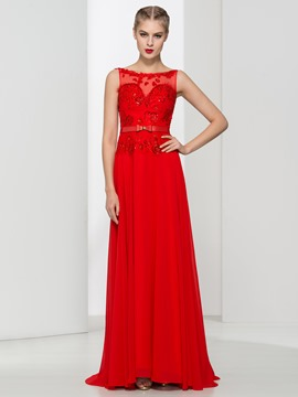Ericdress Bateau Neck Beading Bowknot Evening Dress