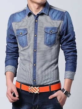 Ericdress Patchwork Long Sleeve Denim Men's Shirt