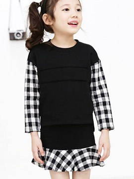 Ericdress Plaid Patchwork Girls Skirt Outfit