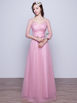 Ericdress Elegant Half Sleeves Long Bridesmaid Dress