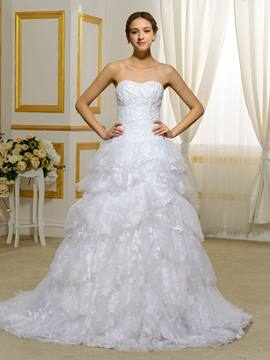 Ericdress Beautiful Detachable Train Lace Wedding Dress