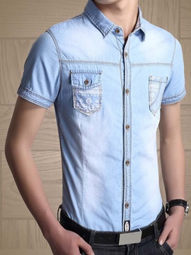 Ericdress Casual Denim Short Sleeve Men's Shirt