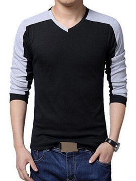 Ericdress V-Neck Long Sleeve Casual Men's T-Shirt