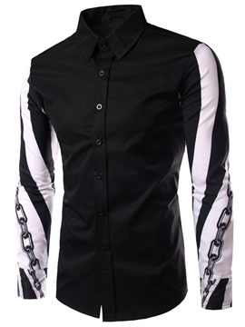 Ericdress Color Block Casual Print Men's Shirt