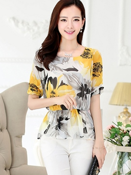 Ericdress Slim Floral Printed Blouse
