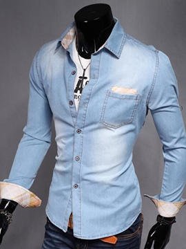 Ericdress Long Sleeve Slim Casual Denim Men's Shirt