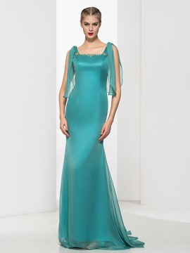 Ericdress Square Neck Beading Trumpet Evening Dress