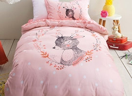 Ericdress Pink Beautiful Dear Print Kids Bedding Sets