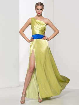 Ericdress One Shoulder Split-Front Draped Evening Dress