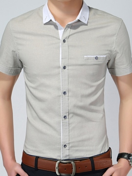Ericdress Short Sleeve Slim Linen Men's Shirt