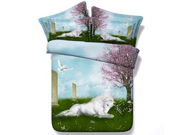 Ericdress White Horse Crouching Under Cherry Tree Print 3D Bedding Sets