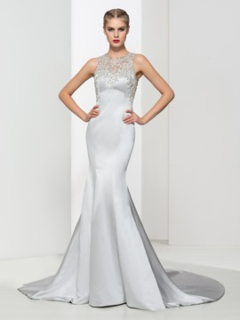 Ericdress Trumpet Beading Backless Long Evening Dress