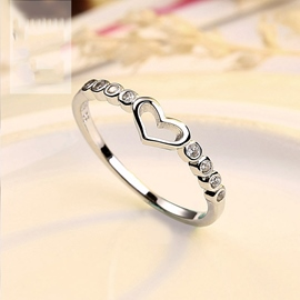 Hollowed Out Rhinestone Heart-Shaped Ring