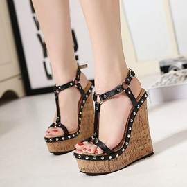 Ericdress PU Studded T-Strap Wedge Sandals