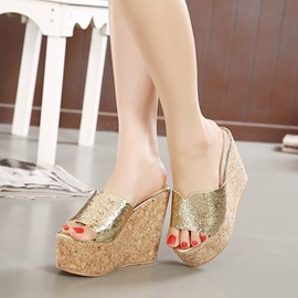 Ericdress Simple Sequins Wedge Slippers