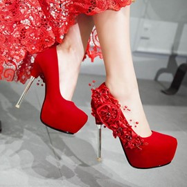 Ericdress Trendy Flowers Platform Stiletto Heels Wedding Shoes