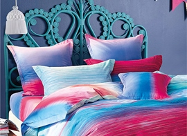 Ericdress Gradient Colorful Stripe Cotton Bedding Sets