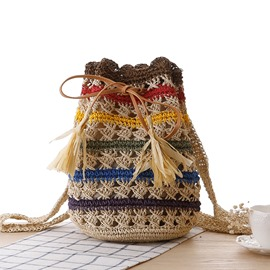 Ericdress Hollow Rainbow Stripe Straw Backpack
