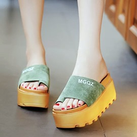 Ericdress Suede Clip Toe Wedge Slippers