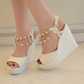 Ericdress Pearl Tassels Peep Toe Wedge Sandals