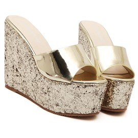 Ericdress Fashion Sequins Wedge Slippers