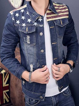 Ericdress Patchwork Casual Print Denim Men's Jacket