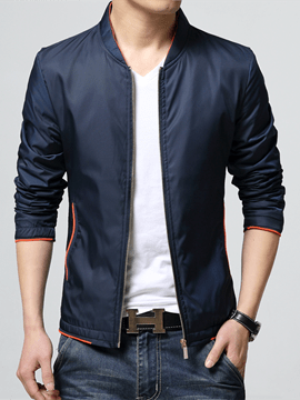 Ericdress Plain Zip Smooth Fabric Slim Men's Jacket