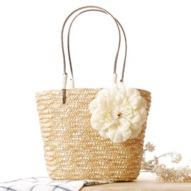 Ericdress Chic Pearl Flower Decorated Straw Handbag