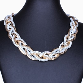 Ericdress Street Metal Braided Necklace