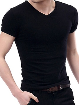 Ericdress Plain Slim Fit Casual Men's T-Shirt