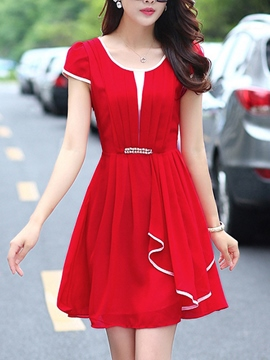 Ericdress Chiffon Falbala Plain Casual Dress