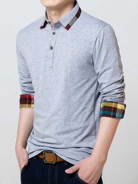 Ericdress Patchwork Long Sleeve Casual Polo Men's T-Shirt