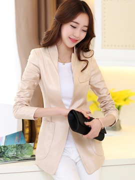 Ericdress Solid Color Stand Collar One Button Blazer