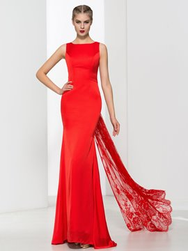 Ericdress Mermaid Bowknot Lace Red Evening Dress