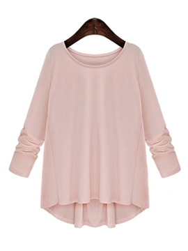 Ericdress Solid Color Pleated Plus Size T-Shirt