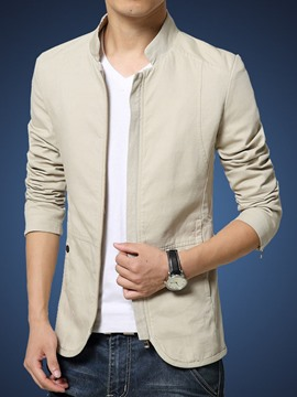 Ericdress Plain Stand Collar Slim Men's Jacket