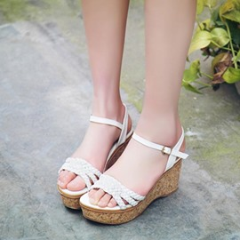 Ericdress Charming Open Toe Wedge Sandals with Buckles