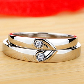 Ericdress Heart Design Diamond Ring For Lovers