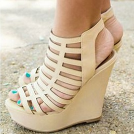 Ericdress Beige Cut Out Wedge Sandals