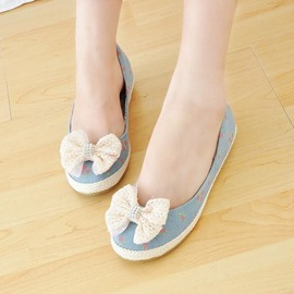 Ericdress Denim Lace Bowtie Flats